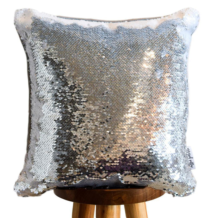 Change Your Mindset Colorful Typography Decorative Throw Pillow Cover with Silver & White Reversible Sequins