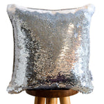 Think Different Colorful Typography Decorative Throw Pillow with Silver & White Reversible Sequins