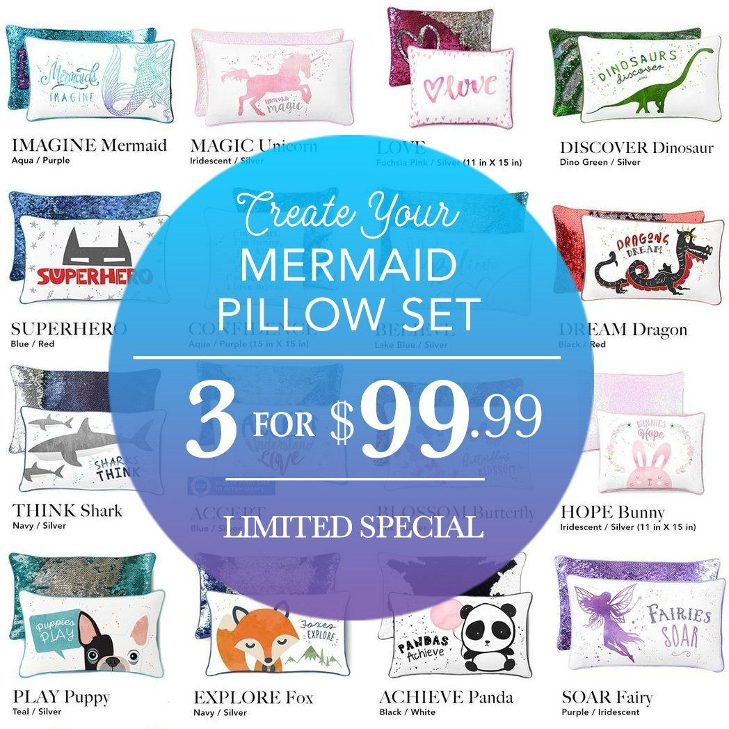 Create Your Own Mermaid Pillow Set ($3 for $99)