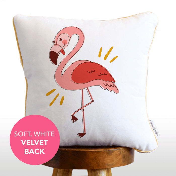 Fantastic Flamingo Mermaid Pillow w/ Gold & White Sequins (Includes Hypoallergenic Insert!)