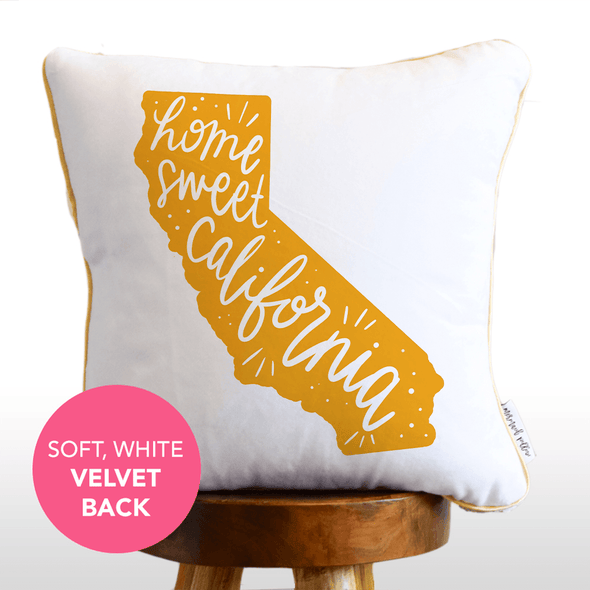 Home Sweet California Hand Lettered Mermaid Pillow w/ Gold & White Sequins
