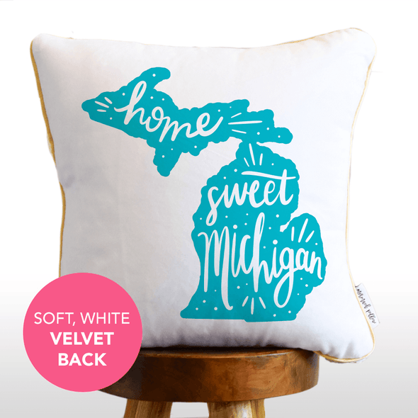 Home Sweet Michigan Hand Lettered Mermaid Pillow w/ Gold & White Sequins