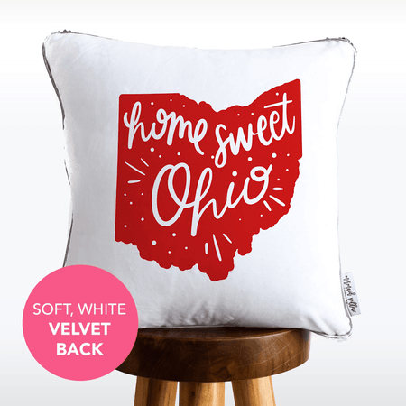 Home Sweet Ohio Hand Lettered Mermaid Pillow w/ Silver & White Sequins