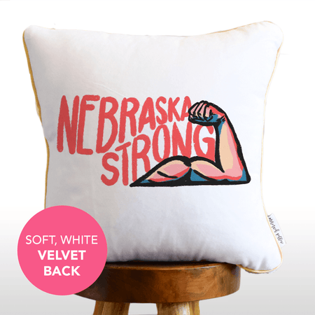 Nebraska Strong Mermaid Pillow w/ Gold & White Sequins [Cover Only]