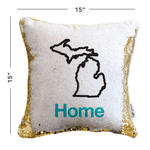 Home Sweet Michigan Mermaid Pillow w/ Gold & White Sequins
