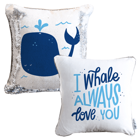 I WHALE Always Love You Mermaid Pillow w/ Silver & White Sequins (2-Sided)