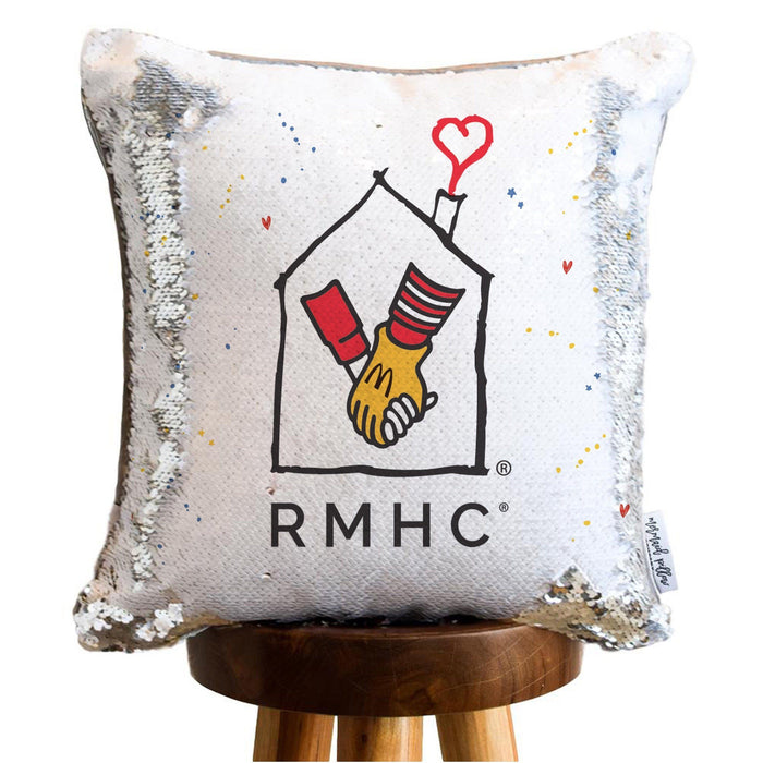RMHC Mermaid Pillow w/ White & Silver Reversible Sequins | COVER ONLY (Inserts Sold Separately)