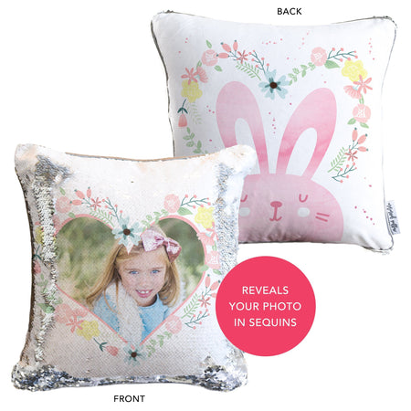 Easter Bunny Pillow: Your kiddos' HIDDEN FACE on Reversible Sequins!
