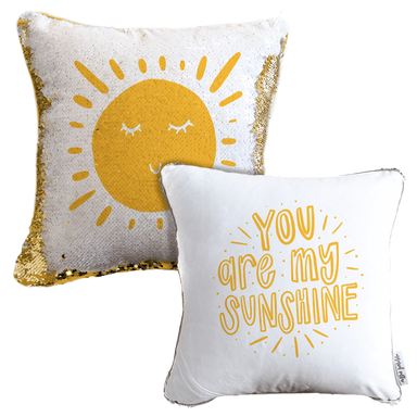 You are My Sunshine Mermaid Pillow w/ Gold & White Sequins (2-Sided and Includes Hypoallergenic Insert!)