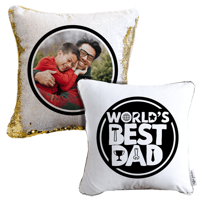 Christmas Photo Pillow For Dad: Your Dad's photo on Reversible Sequin Pillow!