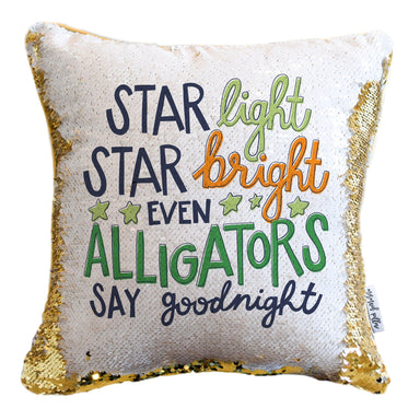Goodnight Alligator Mermaid Pillow w/ Silver & White Sequins (2-Sided)