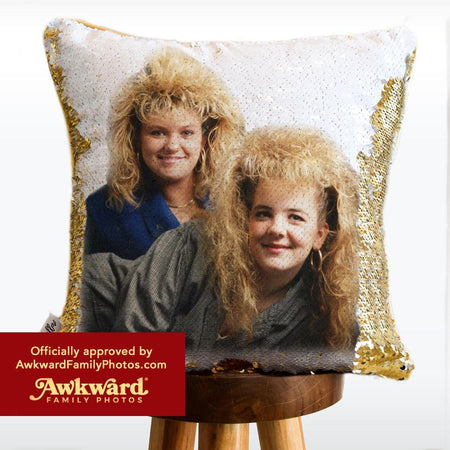Awkward Throwback Throw Pillow: Your HIDDEN AWKWARD PHOTO on Reversible Sequin Pillow!