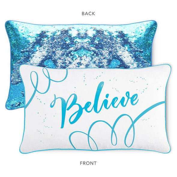 BELIEVE Pillow w/ Lake Blue & Silver Reversible Sequins - Mermaid Pillow Co