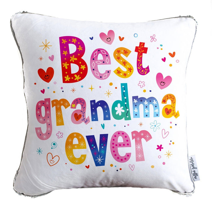 Best Grandma Ever Throw Pillow w/ Reversible Silver & White Sequins