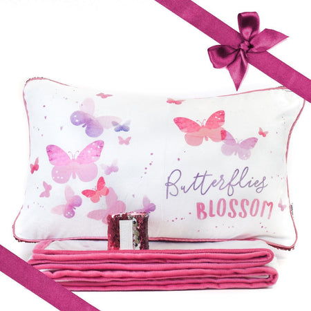 BLOSSOM Butterfly Pillow & Velvet Blanket Set (+ FREE Bracelet) - Mermaid Pillow Co
