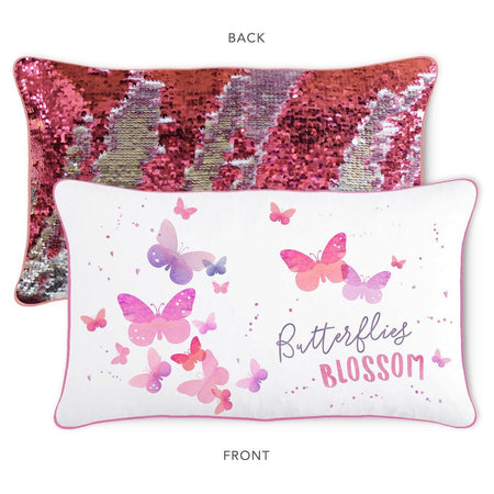 BLOSSOM Butterfly Pillow w/ Reversible Pink & Silver Sequins - Mermaid Pillow Co