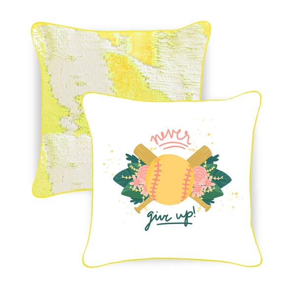 Never Give Up Softball Mermaid Pillow w/ Yellow & White Reversible Sequins - Designed by Adriana (Age 8) - Mermaid Pillow Co