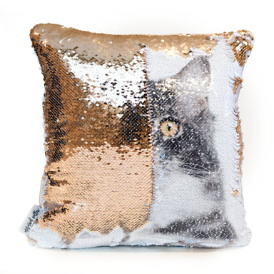CatCushion: Print your Cat's photo on pillow reversible SEQUINS! - Mermaid Pillow Co