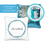 CHERISHED Mermaid Pillow w/ Lake Blue & Silver Sequins - Mermaid Pillow Co
