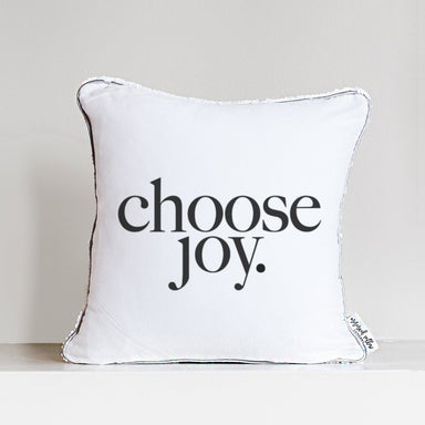 Choose Joy Decorative Pillow Cover w/ Silver & White Reversible Sequins