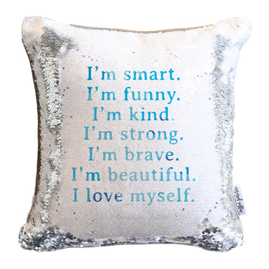 CONFIDENCE Mermaid Pillow w/ Silver & White Sequins