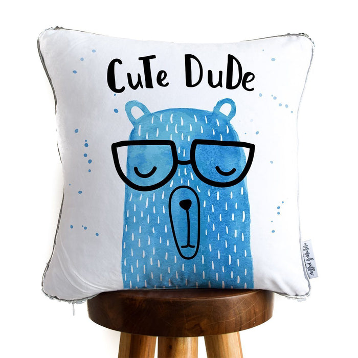 Cute Dude Bear Decorative Pillow w/ Silver & White Reversible Sequins - COVER ONLY (Inserts Sold Separately)
