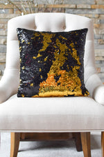 Black & Shiny Gold Sequin Mermaid Pillow *On Sale* - Mermaid Pillow Co