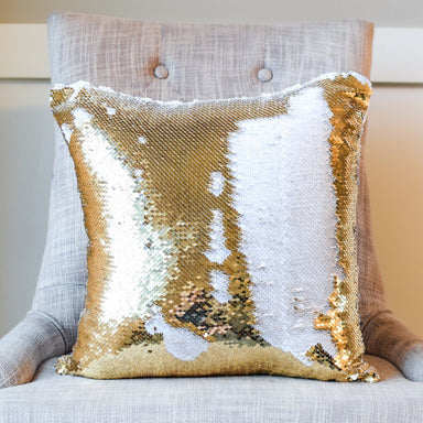White & Gold Reversible Sequin Mermaid Pillow w/ Satin Back | Includes Pillow Insert