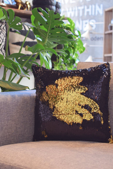 Black & Glam Gold Sequin Mermaid Pillow - Mermaid Pillow Co