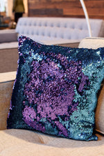 Aqua & Purple Sequin Mermaid Pillow - Mermaid Pillow Co