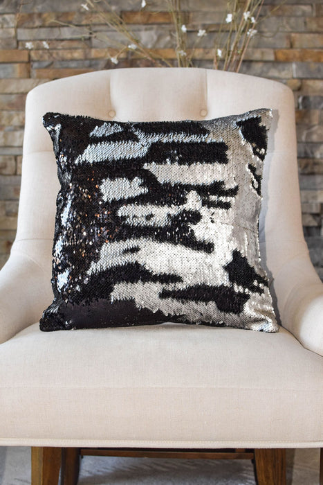 Black & Silver Sequin Mermaid Pillow - Mermaid Pillow Co