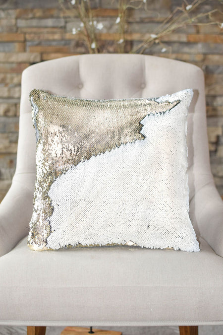 White & Gold Reversible Sequin Mermaid Pillow *Top Gift* - Mermaid Pillow Co