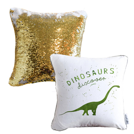 DISCOVERY Dinosaur Mermaid Pillow w/ Gold & White Sequins