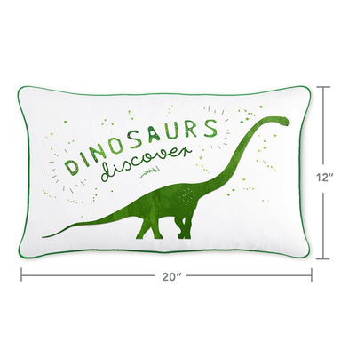 DISCOVER Dinosaur Pillow w/ Reversible Green & Silver Sequins - Mermaid Pillow Co