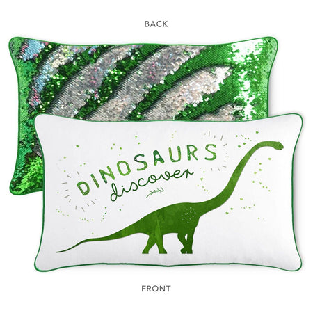 DISCOVER Dinosaur Pillow Cover w/ Reversible Green & Silver Sequins