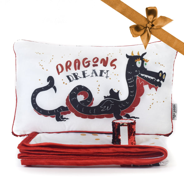 DREAM Dragon Pillow & Velvet Blanket Set (+ FREE Bracelet) - Mermaid Pillow Co