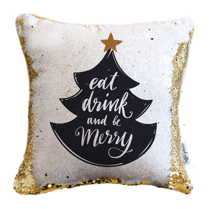 Eat, Drink, Be Merry Holiday Pillow with White & Gold Reversible Sequins - COVER ONLY (Inserts Sold Separately)