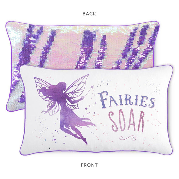 SOAR Fairy Pillow w/ Reversible Lavender Purple & Iridescent Sequins