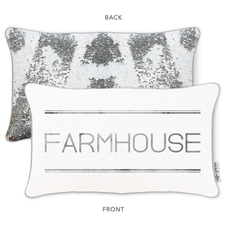 FARMHOUSE Mermaid Pillow with Rice White & Silver Sequins - Mermaid Pillow Co