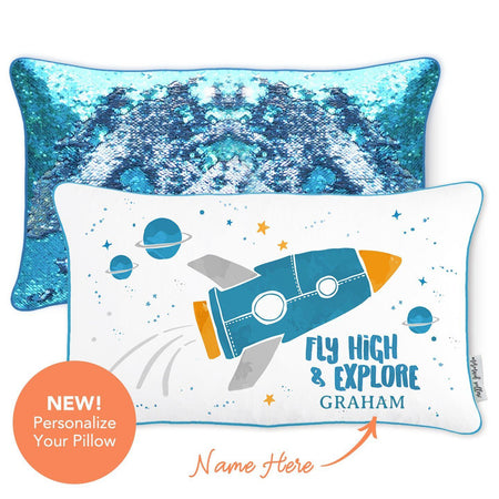 Space Pillow | Fly High & Explore Rocket Space Mermaid Pillow with Lake Blue & Silver Reversible Sequins - Mermaid Pillow Co