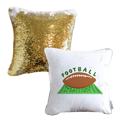 Football Mermaid Pillow with White & Gold Reversible Flip Sequins