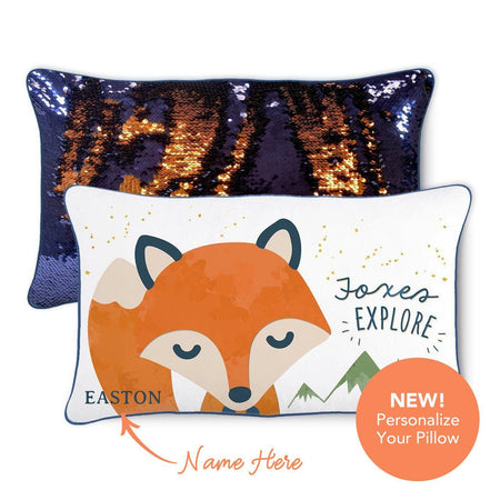 EXPLORE Fox Pillow w/ Reversible Navy and Orange Sequins - Mermaid Pillow Co