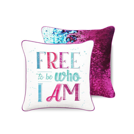 FREE TO BE Mermaid Pillow w/ Burgundy & Teal Sequins