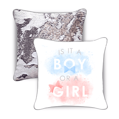 Baby Gender Reveal Pillow - Reversible Sequins Back Reveals Boy or Girl - Mermaid Pillow Co