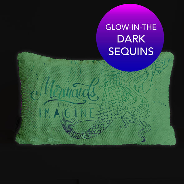 Mermaid Nightlight Pillow | Glow-in-the-Dark Pillow Bedtime Pillow