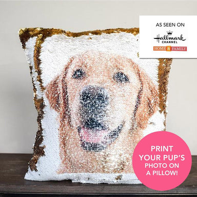 PupPillow: Print Your Pup's photo on pillow reversible SEQUINS! BONUS: Includes Hypoallergenic Pillow Insert!