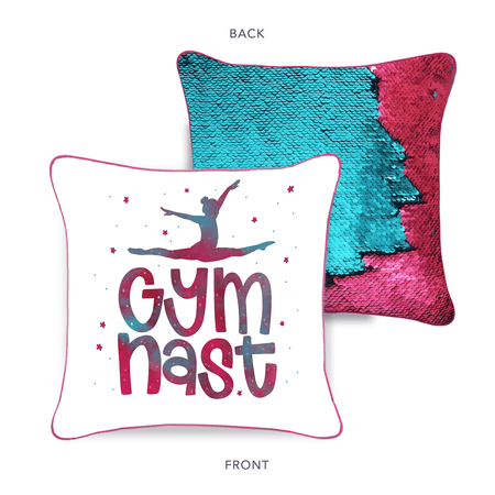 Gymnast Mermaid Pillow with Burgundy & Teal Reversible Flip Sequins - Mermaid Pillow Co