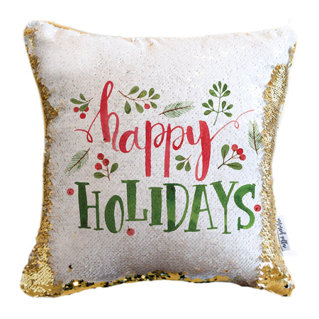 Happy Holidays Pillow with White & Gold Reversible Sequins