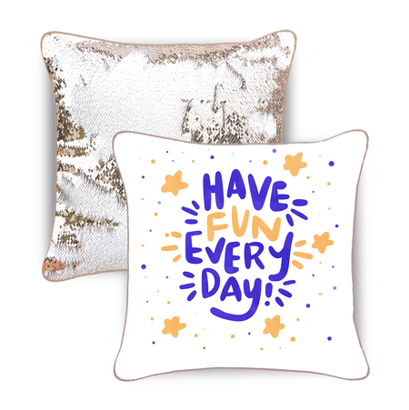 Have Fun Every Day Mermaid Pillow w/ Champagne & White Reversible Sequins - Designed by Wendy