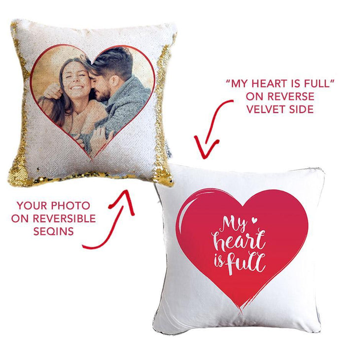 *Add Your Photo* Valentine's Day Pillow w/ Hidden Sequin Photo